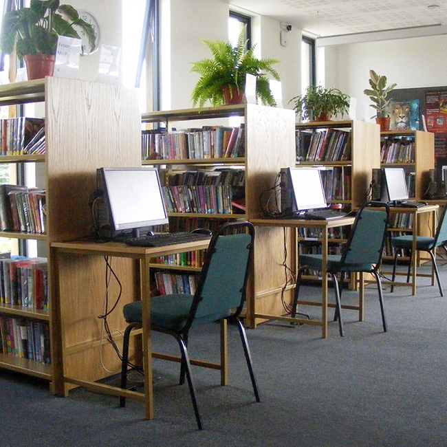 College Library Shelves and desk legs and frames - Braunton Academy