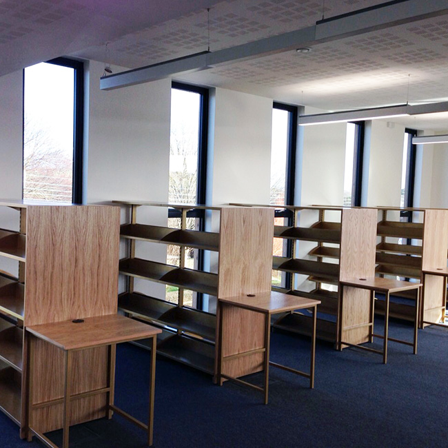 College Library Shelves and Desk frames Braunton Academy